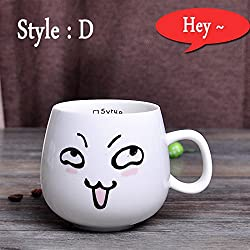 New 320ml Creative Cute Expression Ceramic Mugs Water Container Cups And Mugs Porcelain Tea Cup Coffee Mug Wholesale Style D