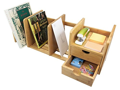 Bamboo Desk Organizer with 2 Drawers for Office/Home,