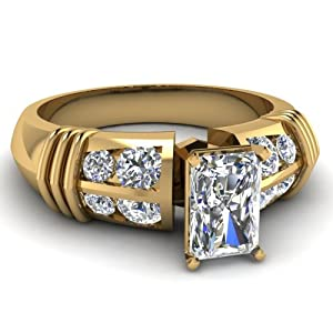 Twin Row Engagement Ring Channel Set 1.45 Ct Radiant Cut SI2-E Color Diamond 14K GIA