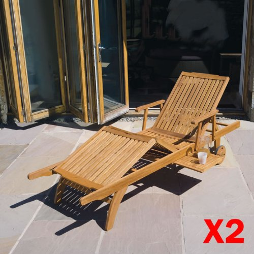 Pair Of Premum Quality Garden / Patio Furniture - Balau Hardwood Sun lounger Chair X2 On Wheels Fully Adjustable With Drinks Tray