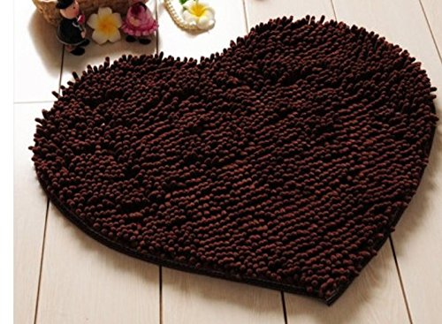 Red Heart Love microfiber chenille Soft Fluffy Rug Bathroom Bedroom Carpet Mat (coffee)