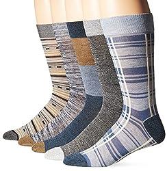 Lucky Men's Plaid Crew Socks Box Set, Denim Black, 10-13/6-12 (Pack of 5)