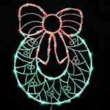 "17"" Lighted LED Wreath with Bow Christmas Window Silhouette Decoration"