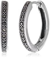 Sterling Silver Marcasite Hinged Click-In Hoop Earrings by Media Imports Inc