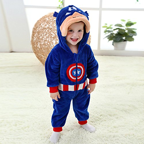 Wheat's baby home ® Unisex Baby Costume Captain America Romper Overall Jacket