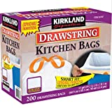 Kirkland Signature White Drawstring Kitchen Tool Garbage Bag Trash Bags 13 Gallon 200 ct