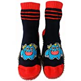 C2BB Baby boys Socks shoes with grippy rubber Monster Size 21 23