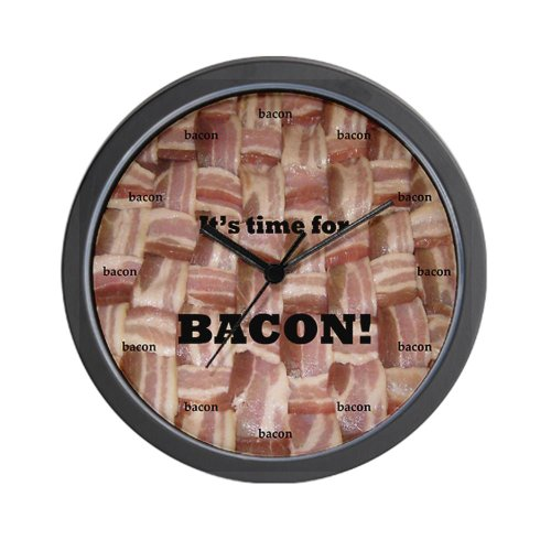 CafePress Time For Bacon Clock Wall Clock - Standard Multi-color