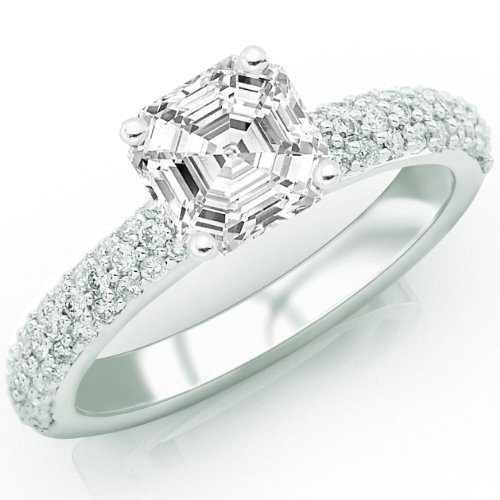Price Comparisons 0.91 Carat Asscher Cut / Shape GIA Certified Classical Engagement Ring With Round Diamonds ( E Color , SI1 Clarity )