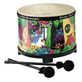 Remo Kids Percussion, Floor Tom, 10 Diameter with Mallet, Rain Forest Fabric ~ Remo