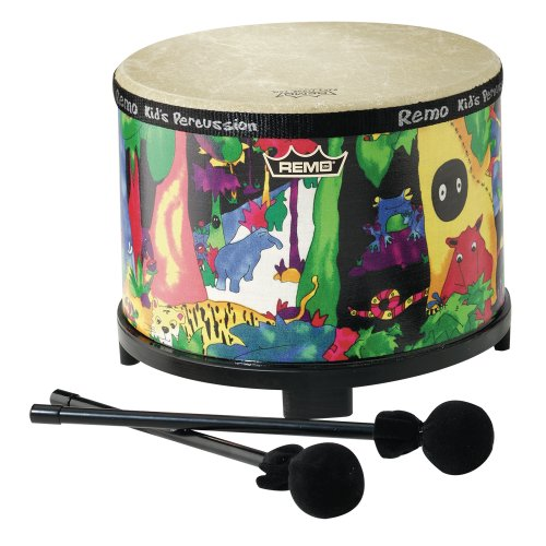 Remo Kids Percussion, Floor Tom, 10 Diameter With Mallet, Rain Forest Fabric front-177417