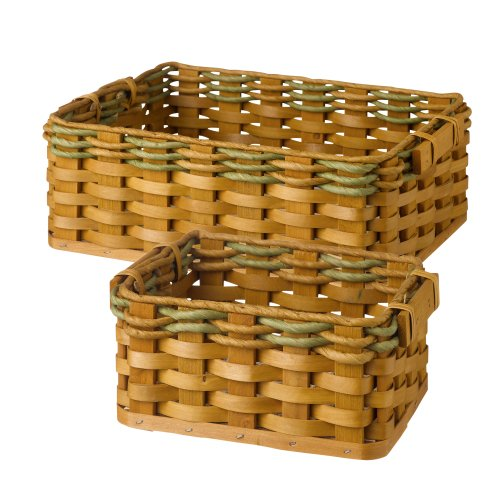 Grasslands Road Wooden Spring Meadow Nested Baskets, 11-Inch, Set Of 4