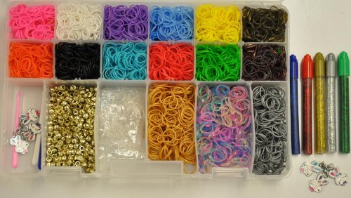 Rainbow Colors Loom Set Collection/storage Kit Organizer Includes Over 4000 Bands and 200 Count Silver and Gold Refill Silicone Bands with Clips and Loom Tool Plus 3 Metal Bracelet Charms Metallic Beads and More