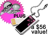 Gift Pack: Crystal Earbuds + Glam 2GB Cute Bling USB Flash Drive in Pink Bird