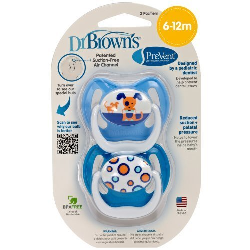 Dr. Brown'S Prevent Design Pacifier, Boys, Stage 2, 6-12 Months By Dr. Brown'S
