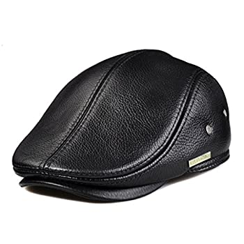 LETHMIK Flat Cap Cabby Hat Genuine Leather Vintage Newsboy Cap Ivy Driving Cap