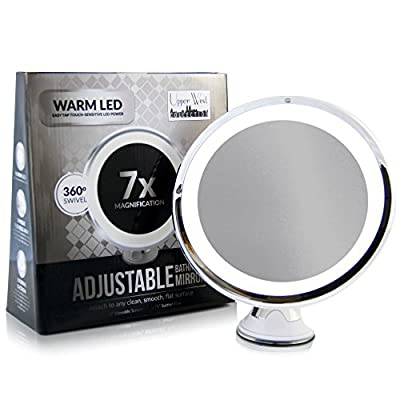 "LED Makeup Mirror - Adjustable Magnification Lighted Makeup Mirror Vanity. Warm LED Tap Light Bathroom Mirror with Powerful Rotating, Locking Suction. 6"" Wide. Wireless & Compact as Travel Mirror"