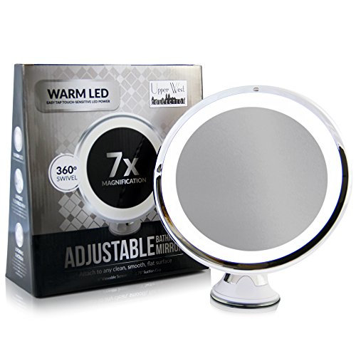 7x-Magnifying-Lighted-Makeup-Mirror-Warm-LED-Tap-Light-Bathroom-Vanity-Mirror-Wireless-Compact-Travel-Mirror