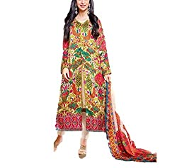 Stylized Choice Women's Georgette Embroidered Unstitched Dress Material(DMA104_Green_FreeSize)