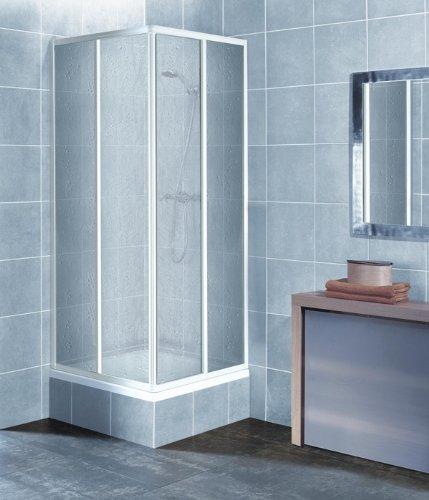 eckeinstieg duschkabine kunststoffglas tropfendekor weisse. Black Bedroom Furniture Sets. Home Design Ideas