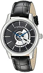 Stuhrling Original Men's 787.02 Symphony Stainless Steel Watch with Black Leather Band