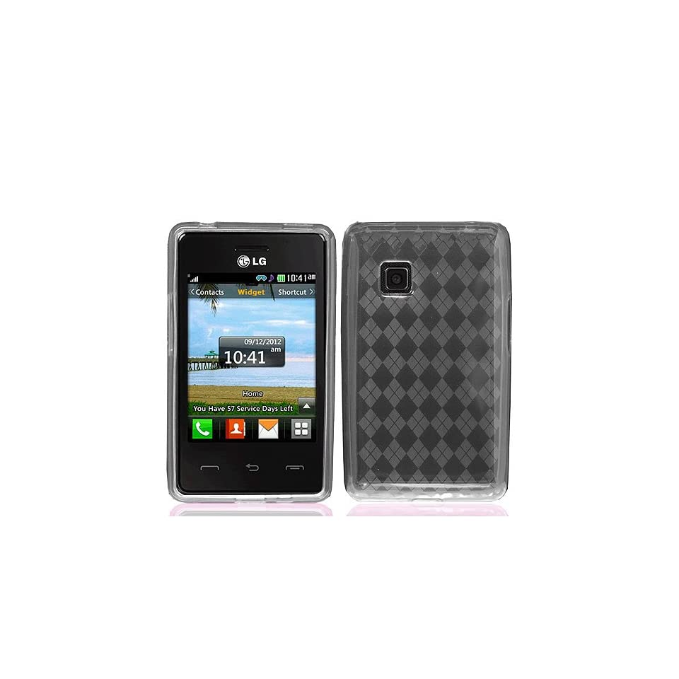 Transparent Clear Gray Flex Cover Case for LG 840G Cell Phones & Accessories
