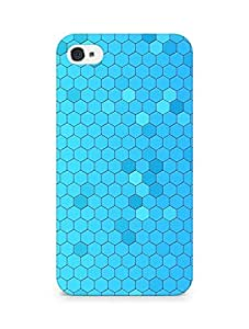 Amez designer printed 3d premium high quality back case cover for Apple iPhone 4 (Pattern Blue Honeycomb)