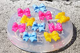 Clear-silicone jewelry bow mold.size-12x11 mm,for pendants,earring,art,craft .Handmade item. (2-56)