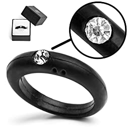Silicone Ring For Women Ladies with diamond plus FREE Jewellery Gift Box (size 6)