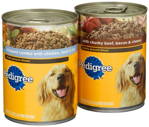 Pedigree Meaty Ground Dinner Variety Pack (Chopped Combo, with Chunky Beef, Bacon & Cheese) Food for Dogs, 13.2-Ounce Cans (Pack of 24)