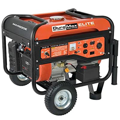 DuroMax Elite MX4500E 4,500 Watt 7 HP OHV 4-Cycle Gas Powered Portable Generator With Wheel Kit and Electric Start