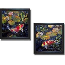 Water Garden I & II by Ostlund 2-pc Premium Satin-Black Framed Canvas Set (Ready to Hang)
