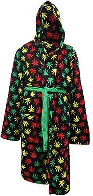 Rasta Themed Ganja Leaf Cozy Hooded Robe for men