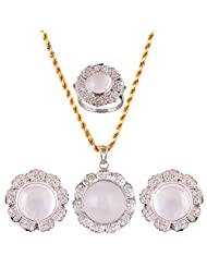 Mariya Impex Classic Collection Silver Pendant Necklace Set For Women - B00YHWMTV0