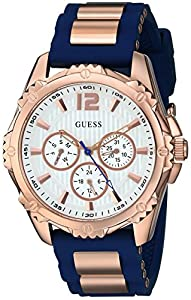GUESS Women's Blue and Rose Gold-Tone Active Midsize Sport Watch