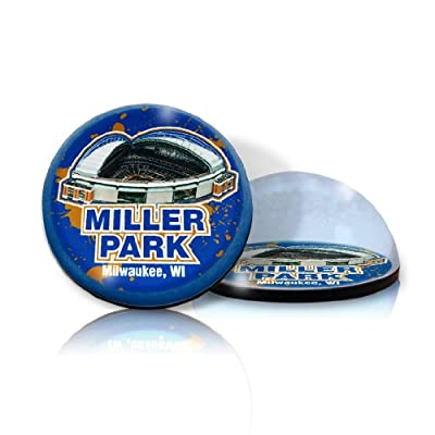 "MLB Milwaukee Brewers Miller Park in 2"" crystal Magnetized paperweight with Colored Window Gift Box"