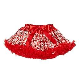 Red Girls Damask Pettiskirt, Size 5/6