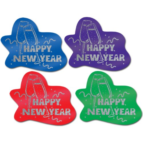 Beistle - 88966 - Glittered Happy New Year Signs- Pack of 12