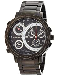 K&BROS Men's 9453-1 On The Road 3 Movements Black Ion-Plated Watch