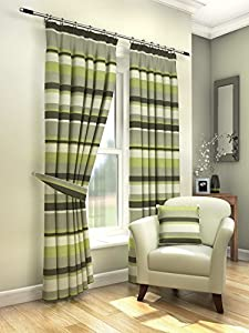 """Modern Fresh Green Cream Striped Curtains Lined Pencil Pleat 90"""" X 54"""" #amas from PCJ SUPPLIES"""