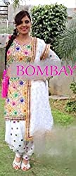 Khazanakart womens designer white cotton punjabi dress meterials