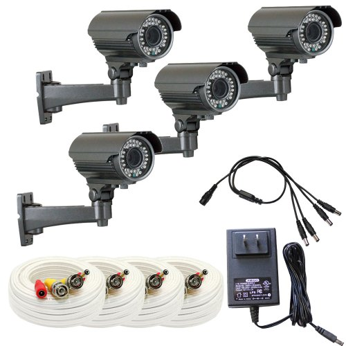 """Gw 4 X 1/3"""" Panasonic Ccd Outdoor Camera With 60Ft Bnc Cable & Power Supply Pack, 2.8~12Mm Lens, 700 Tv Lines, 36Pcs Ir Led, 82 Feet Ir Distance. Vandal Proof & Water Proof"""