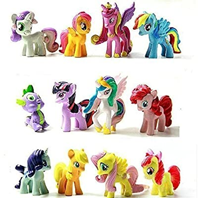 Top Valu 12pcs My Little Miss Pony Colorful Cupcake Cake Topper PVC Action Figures Kids Girl Toy Dolls Decoration Birthday Function Party Cake Kitchen Dish Plate Table Decoration Figure
