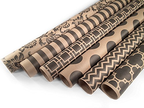 Kraft and Black Wrapping Paper Set - 6 Rolls for $24.99 - Mu