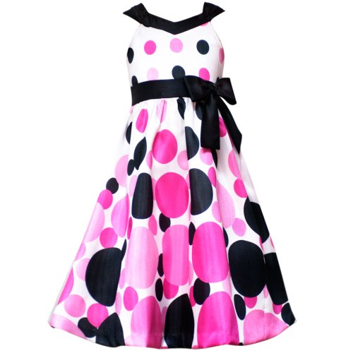Size-7 RRE-46411F FUCHSIA-PINK BLACK WHITE 'Bubble' DOT PRINT SHANTUNG Special Occasion Wedding Flower Girl Party Dress,F446411 Rare Editions 7-16