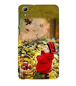 Omnam Sweet Little Boy In Park Sitting With Fruit Basket Desginer Back Cover Case For HTC Desire 826