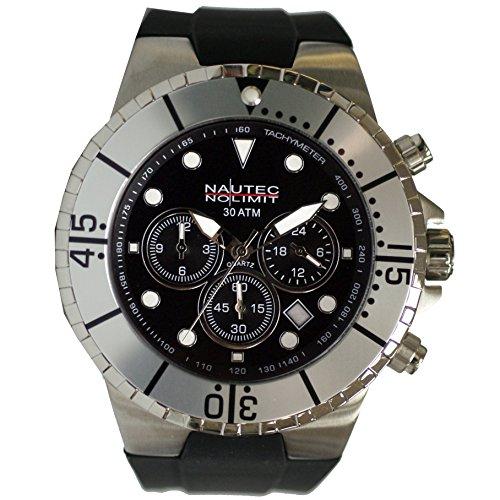 no-limit-nautec-hombre-reloj-analogico-de-cuarzo-de-caucho-mainland-mald-qz-gmt-rbstst-bk