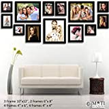 "13 Pc Black Photo Frame Wall Collage, 3Pc 10"" X 12"", 2Pc 6"" X 8"", 4 Pc 4"" X 6"", 4Pc 4"" X 4"""