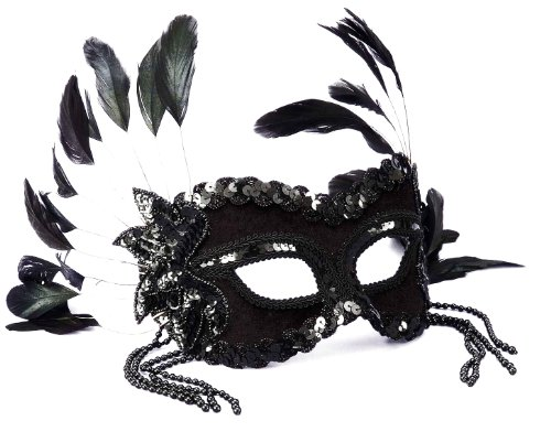 Adult Women's Black Beaded Venetian Mask (Black Person Mask compare prices)