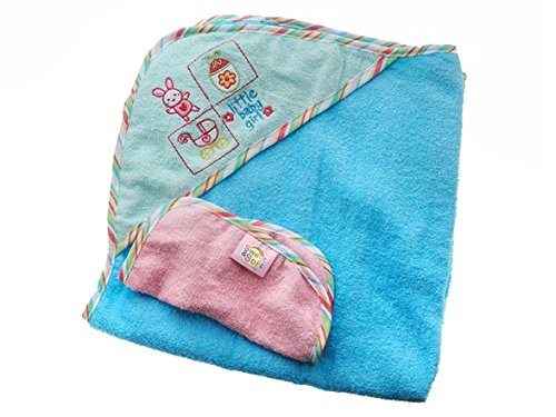 032-29871 Girls Hooded Towel w/ Washcloth Turquoise